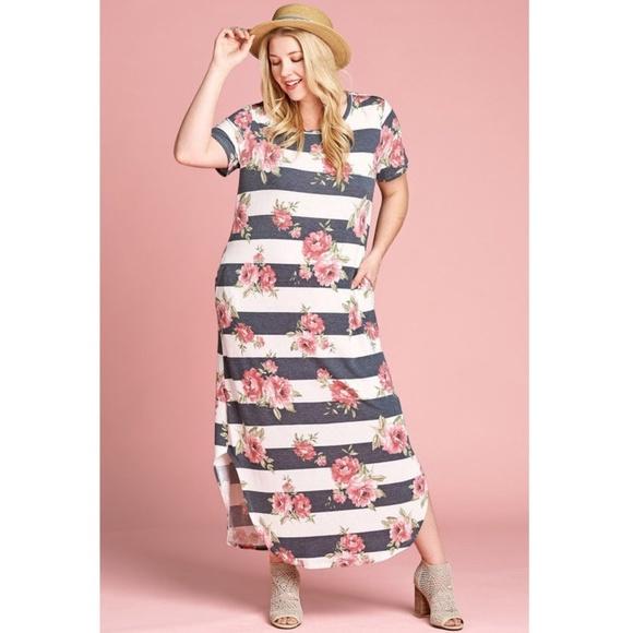 a7baca006031 Dresses | Plus Floral Striped Hi Low Slit Tunic Maxi Dress | Poshmark